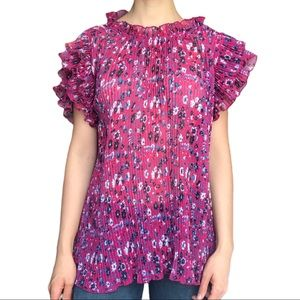 Anthropologie pink floral pleated ruffle sleeve